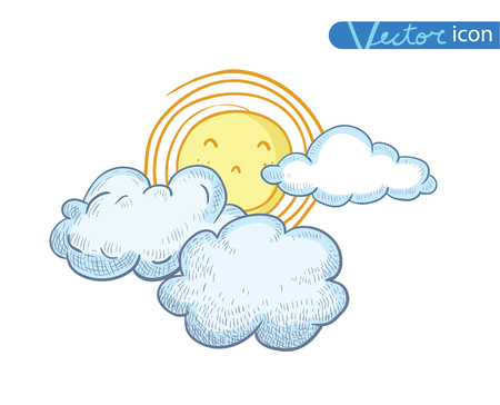 forecaster: Sun with clouds Doodle Hand Drawn Collection.