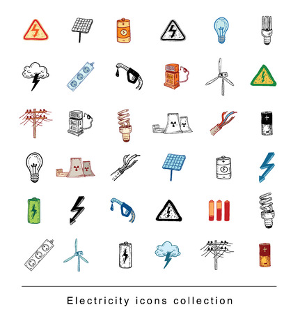 led: Electricity Doodle icon collection, vector illustration.