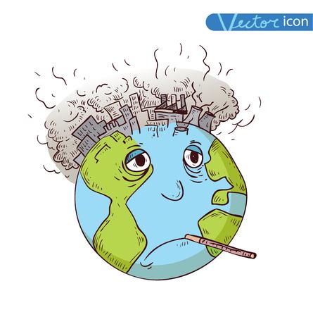air pollution cartoon: Earth with Pollution, Vector