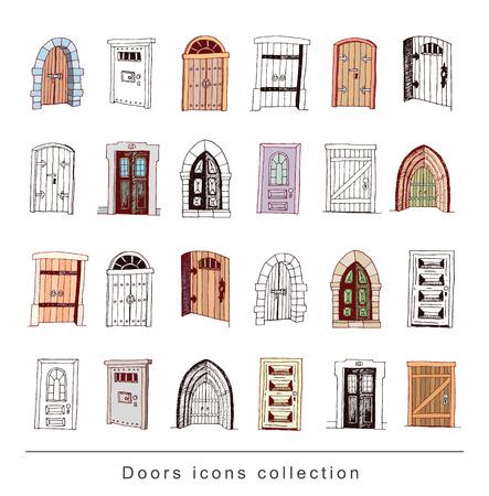 old door: Set of old Door icon, illustration vector. Illustration