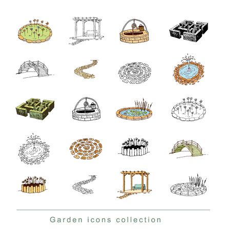 yard furniture: gardening element decorations, illustration vector.