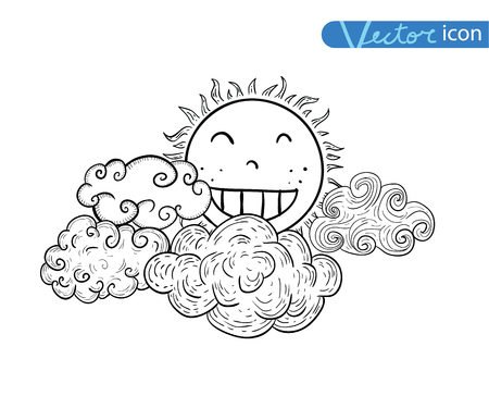 autumn season: Sun with clouds Doodle Hand Drawn Collection.