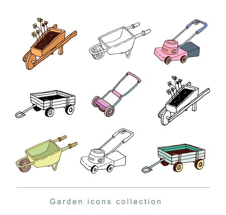 lawn chair: gardening element decorations, illustration vector.