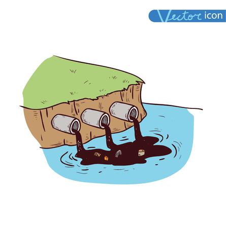 water pollution, Vector Illustration