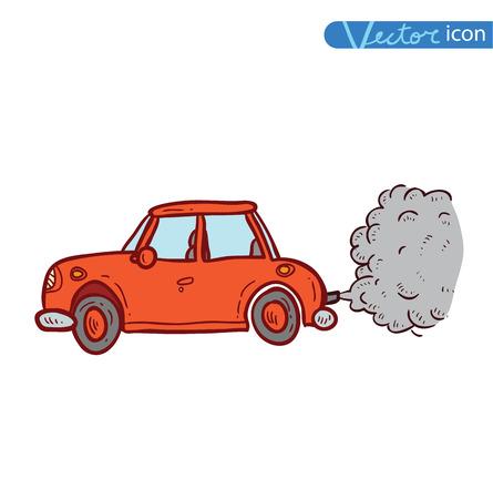 emitting: car emitting smoke, Vector Illustration