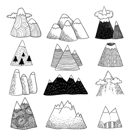 Set of hand Drawn mountains vector illustration.