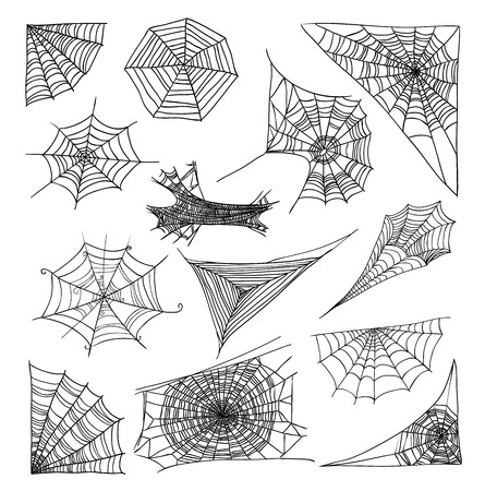 spider web: Spider web set, vector illustration.