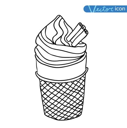 softcream: Icon of ice cream, vector illustration.