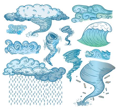 les éléments météorologiques, illustration vectorielle. Vecteurs
