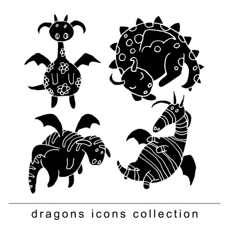 classical mythology character: cartoon fire dragon icon.