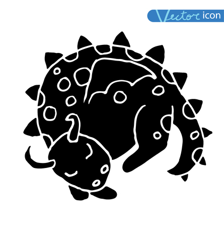classical mythology character: cartoon fire dragon icon.