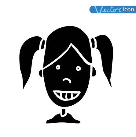 black: funny cartoon avatar icon black color, black Illustration