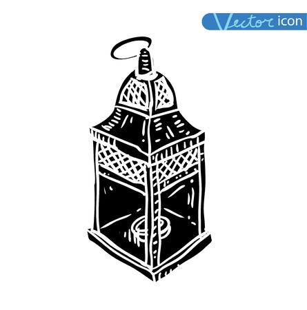 eastern spirituality: oil lamp icon, hand drawn vector illustration. black