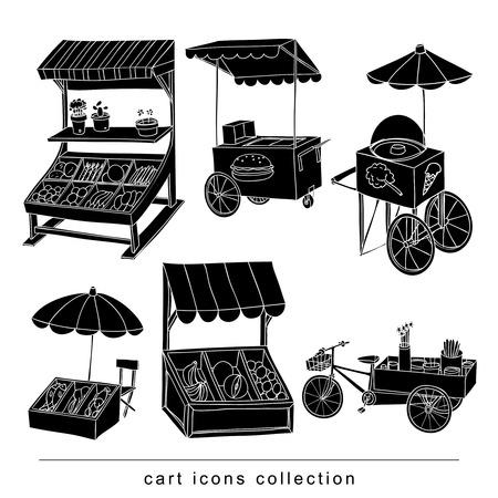 set of stall shop and cart, vector illustration black color