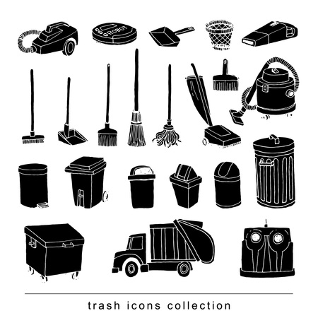 trash icons set, vector illustration  black