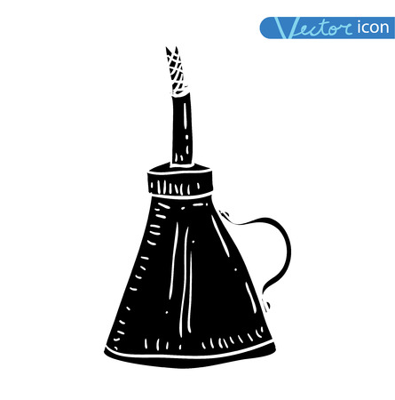 oil lamp: oil lamp icon, hand drawn vector illustration. black