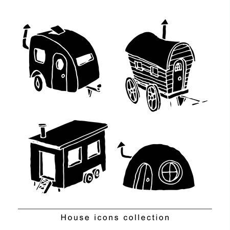 하우스, 벡터 그림 낙서를 설정합니다.