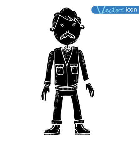 Man Adventurer explorer cartoon. vector illustration. Illustration