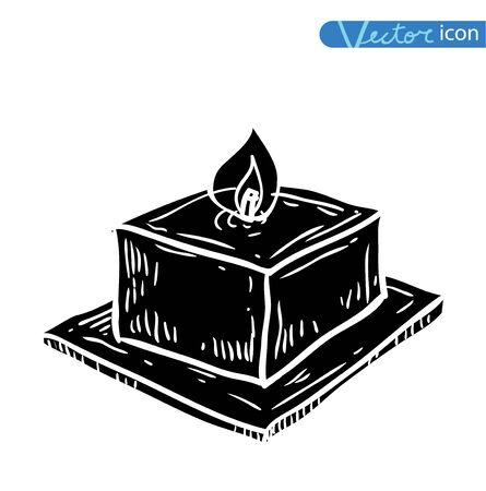 candle, drawn vector illustration. black Illustration