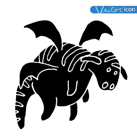 classical mythology character: cartoon fire dragon icon set black color, black