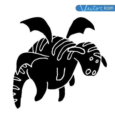 cartoon fire dragon icon set black color, black