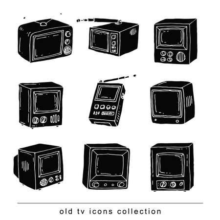 flat screen tv: Set Televisions, vintage, vector illustration black