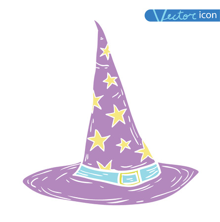Witch Hat cartoon icon. vector illustration silhouette black