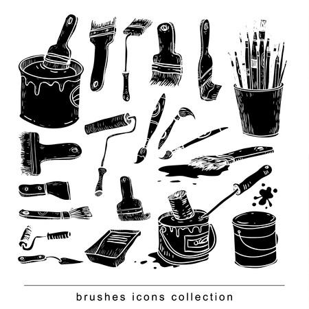Paint brush set, vector illustration silhouette black