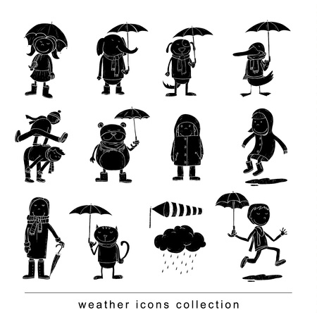 pet weather elements, vector illustration.
