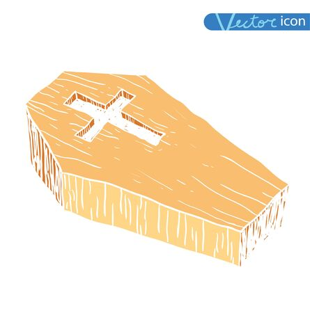 Wooden coffin. vector illustration.silhouette black
