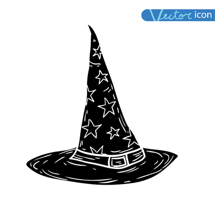 spells: Witch Hat cartoon icon. vector illustration silhouette black