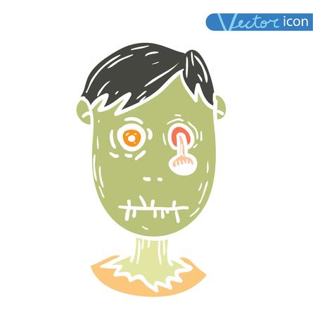 zombie cartoon character, vector illustration. Illustration