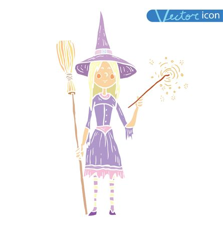 Witch with broom. vector illustration. Illustration