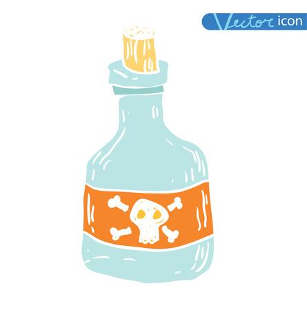 poison bottle: bottle with poison Halloween party. vector illustration.