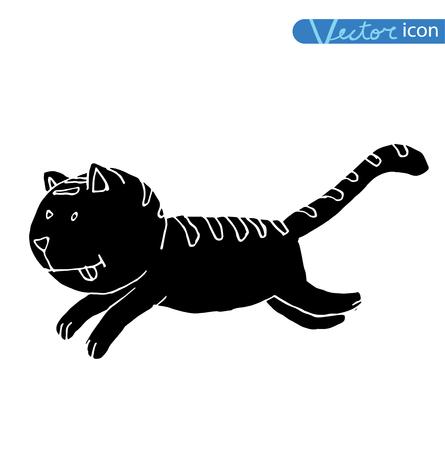 stretch: cartoon cat  illustration, vector.