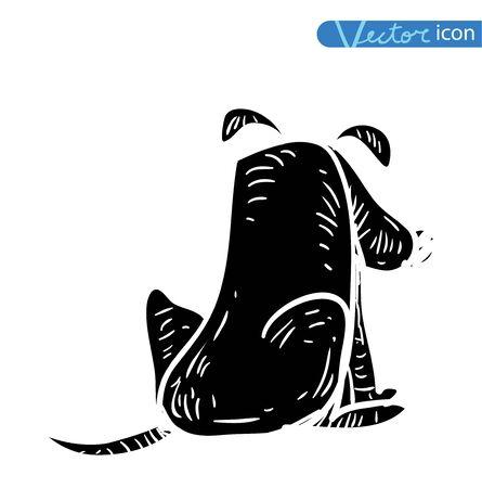 domesticated: dog icon -  illustration.black color, black