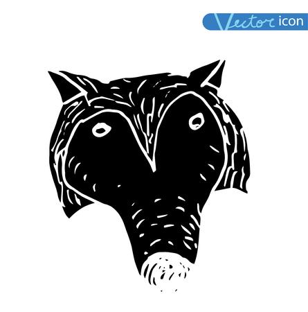 dog icon -  illustration.black color, black