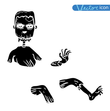 rising dead: zombie cartoon character, vector illustration. Illustration