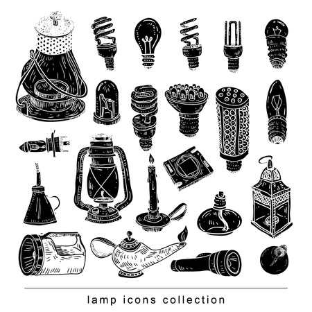 Fluorescent Light Bulb icon - vector illustration black