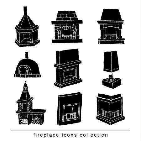 gas fireplace: Fireplace doodle set, vector illustration black