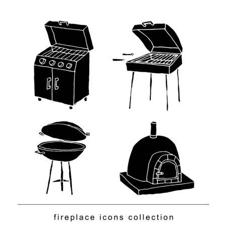 fireplace doodle set, vector illustration black