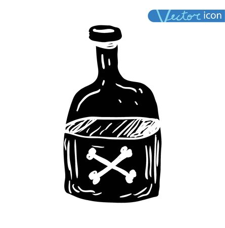 bottle with poison Halloween party. vector illustration.