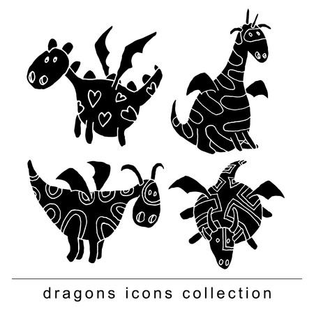 cartoon fire dragon icon set black