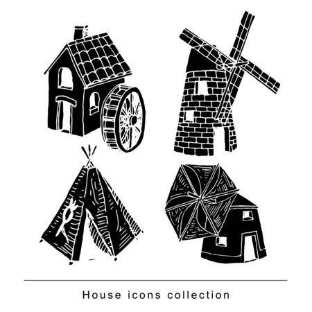 House set doodle. Illustration