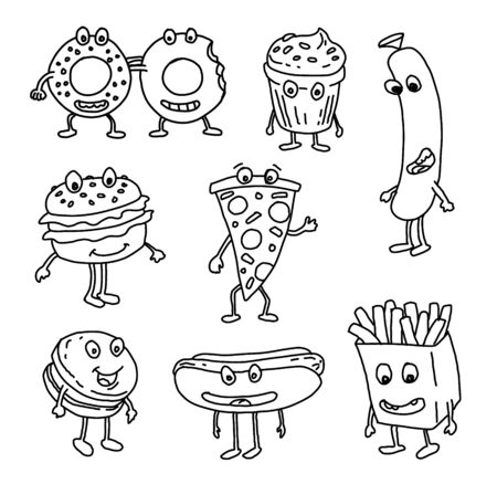 Set of sweets and cakes illustration.