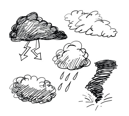 Different types of clouds illustration. Çizim
