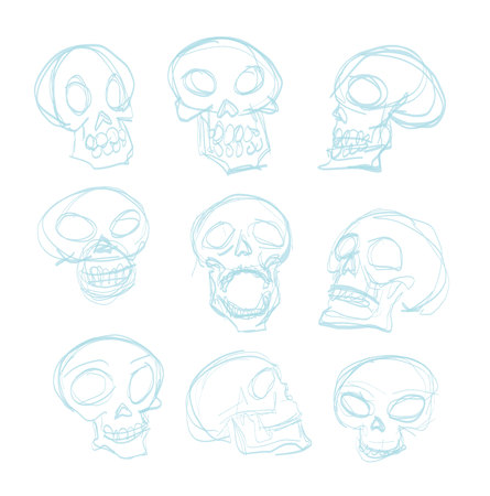 Skull cartoon icon. Vector illustration. Illustration