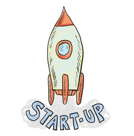 Startup technology concept with a spaceship.
