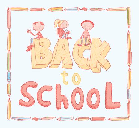 Back to School doodles elements. Illusztráció