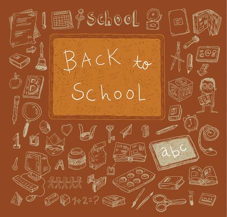 Back to School doodles elements. Vector illustration.